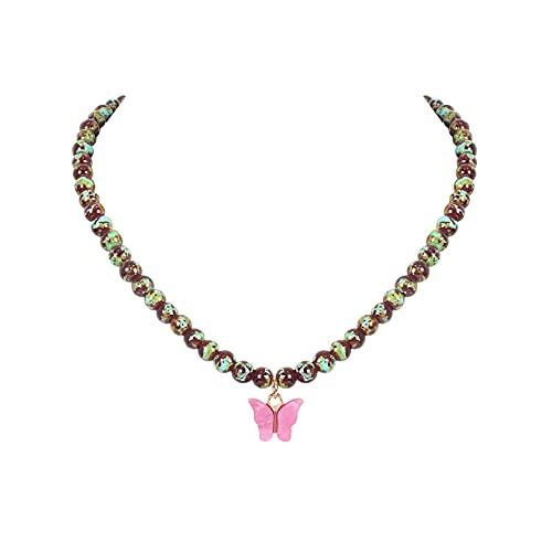 Collar colgante para niñas aleación colorido collar collar mariposa rosa colgante