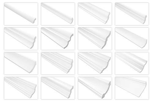 Stuckleisten aus Styropor - riesige Auswahl, leichte und stabile Profile für Decken-/ und Wandübergang modern weiß dekorativ XPS - 2 Meter 80 x 80 mm E-34