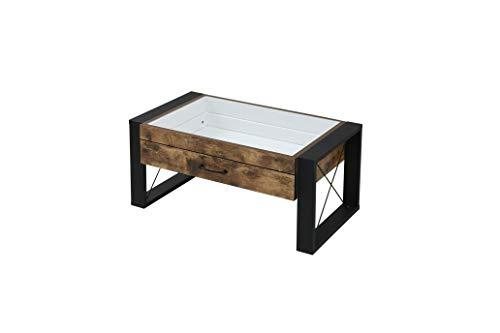 JKプラン コレクション センターテーブル 幅75 奥行48 高さ35 引き出し ガラス テーブル FBR-0005-BKBR ブラックブラウン