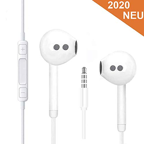 RURUI Kopfhörer In-Ear Kopfhörer Kabel Kopfhörer mit Mikrofon und Lautstärkeregler Stereo Bass Ohrhörer mit 3.5mm Klinkenstecker für Smartphones, MP3 /MP4, Android usw - Weiß