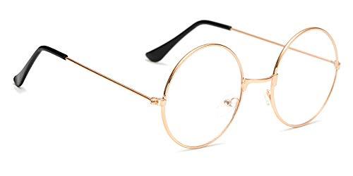 ZEVONDA Vintage Runde Brille Klare Linse - Metall Frame Runde Brillen Brille Ohne Stärke Sehstärke Unisex Retro Fancy Party Dekoration Brille Fasching Brillen Ultra Light für Damen Herren, Rose Gold
