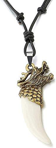 YOUZYHG co.,ltd Collar con Colgante de colmillo de Cuerno de dragón de Bronce para Hombre con Cuero Ajustable y cordón de acrílico Blanco