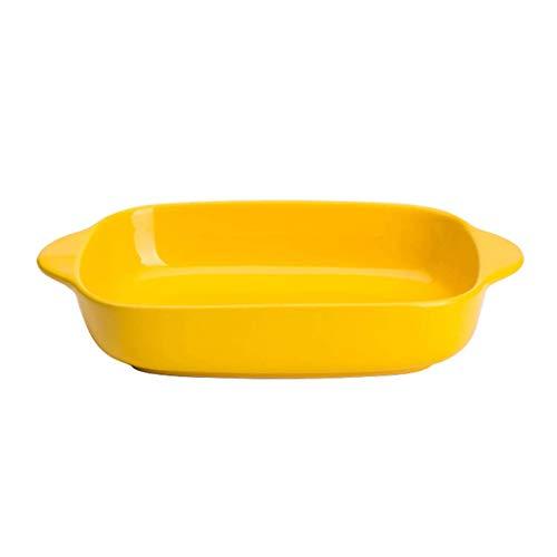 AMBH Rechthoekige Dubbeloorige Rijstkoker Keramisch Diner Platen Creatieve Kleur Oven Magnetron Bakplaat Huishoudelijke Keramische Plaat Beste Diner Platen L20.1.10