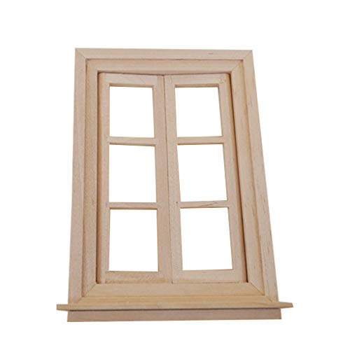 CARRYKT Unpainted Mini Wood 6 Pane Window for 1/12 Doll House Accessories and Furniture Any Room Items Accessory