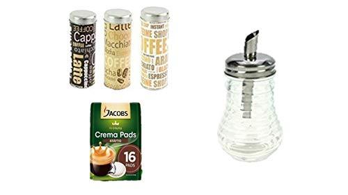 Jacobs Krönung Crema Kräftig 16 Kaffee Pads, 1er Pack + 3 creative Pad Dosen + 1 Zuckerglasdose