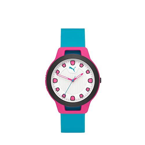 PUMA Women's Reset Quartz Watch with Silicone Strap, Blue, 18 (Model: P1012)