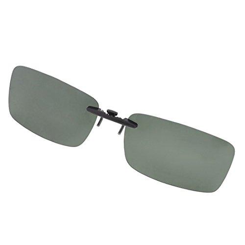 SODIAL (R), occhiali da sole polarizzati, unisex, lenti chiare con clip per applicazione su occhiali da vista; di colore verde scuro