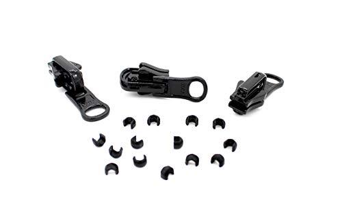 ZipperStop Distributor YKK # Zipper Repair Kit Solution, YKK #5 Molded Reversible Fancy Vislon Slider Made in USA-3 Pulls Per Pack (Black)