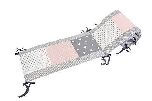 ULLENBOOM ® Tour de lit bébé Gris Rose (210x30 cm Contour de lit molletonné en coton, Motifs étoiles & pois)