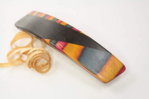 Haarspange / 70mm / Mooreiche + bunte Furniere/Einzelstück !