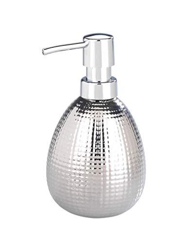WENKO Seifenspender Polaris Nodi Chrome Keramik - Flüssigseifen-Spender, Spülmittel-Spender Fassungsvermögen: 0.39 l, Keramik, 9.5 x 16 x 9 cm, Chrom