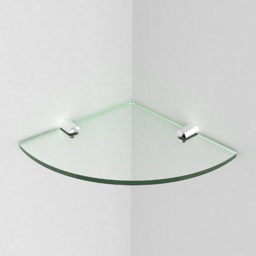 Eckregal fürs Badezimmer, Acryl, 150 mm, ca. 6 Zoll / 15,24 cm, wird mit Befestigungselementen aus Chrom geliefert Glass Effect