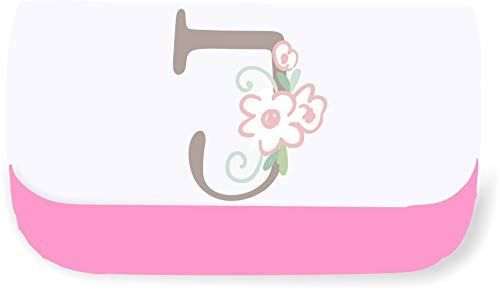 Sweet Baby Floral Style Alphabet Letter J Clutch Style Pencil case - Pink