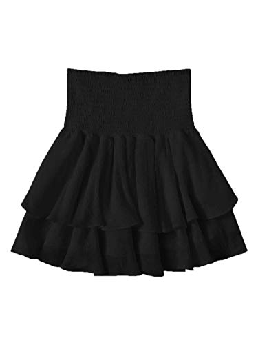 SheIn Women's Solid Shirred High Waist Layered Ruffle Hem Flared Mini Skirt Black Small