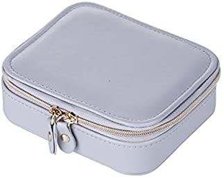 TOOGOO Portable Travel Small Jewelry Box Storage Box Velvet PU Leather Zipper Jewelry Box Gray