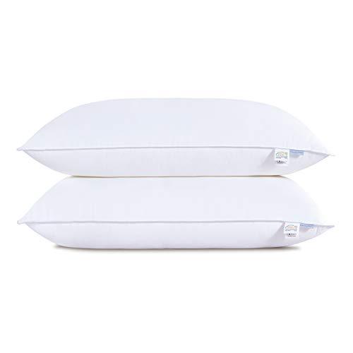 Wavve Kopfkissen 40x80 cm, 2er Set Kissen mit weich Füllung, 2x900g Füllung Schlafkissen Allegikerkissen mit Baumwollebezug, weiß