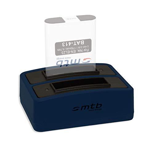 Caricabatteria doppio (USB) per EN-EL23 - Nikon Coolpix B700, P600, P610, P900, S810c - Cavo USB micro incluso (2 batterie simultaneamente caricabili)