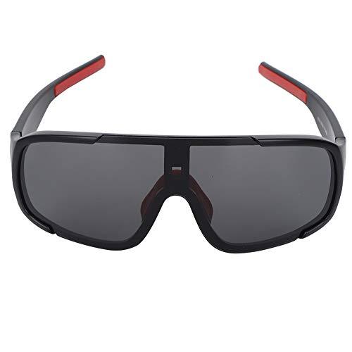 Gafas Deportivas Al Aire Libre Gafas De Ciclismo A Prueba De Viento Gafas De Sol Bicicleta Montañismo para Mujer Hombre Montura Negra + Lente Gris