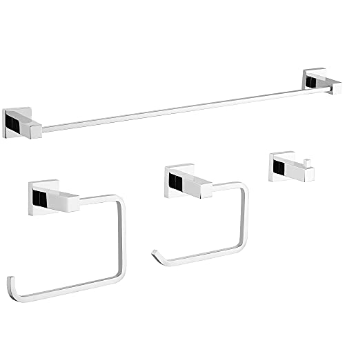 Gricol Set di Accessori da Bagno 4 pezzi Porta asciugamani Porta Carta Igienica Porta e Gancio Accessori da Parete per Bagno