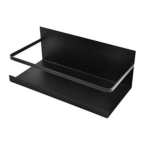Estante de Especias sin perforación refrigerador Especia Estante imán Organizador magnético refrigerador Estante no poroso ladowall Estante para cocinas microondas (Color : Black)