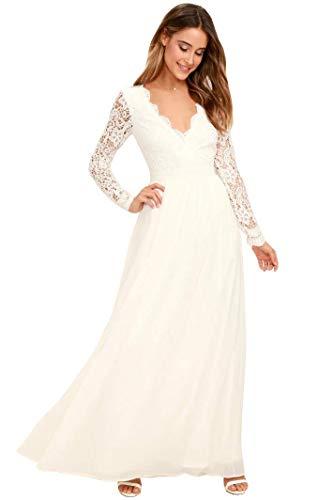 Nanger Boho trouwjurken voor dames, met lange mouwen, met open rug