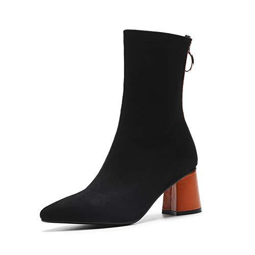 Shukun enkellaarsjes lente en herfst laarzen Women'S Matte dikke met puntige enkele laarzen kleur bijpassende elastische dunne sokken sokken hoge hak Martin laarzen