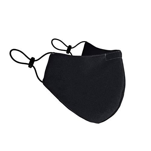 BLINDSAVE Waschbare Mundmaske, 100% Polyestertuch, 4-lagiger Schutz, 5 Stück, schwarz
