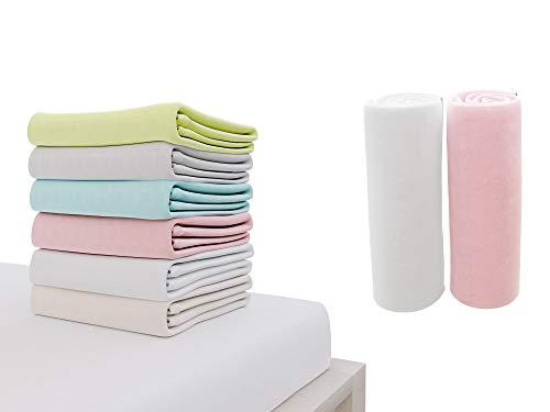 Dreamzie - 2er SetSpannbettlaken 70x140 cm - 100% Jersey Baumwolle Zertifiziert Oeko-TEX® - Weiß und Rose - Für Babybett Matratzen 70 x 140 x 12 cm