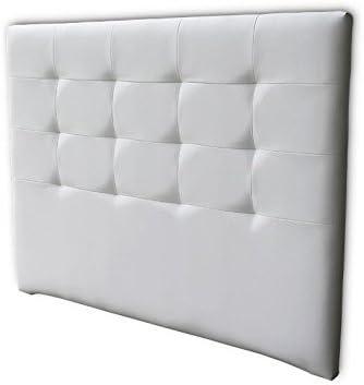 Ventadecolchones - Cabecero Tapizado Acolchado de Dormitorio en Polipiel Modelo Tablet Largo, Blanco y Medidas 106 x 125 cm para Camas de 90 ó 105