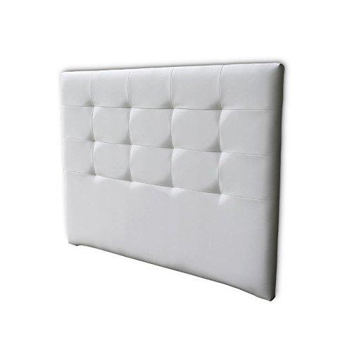 Ventadecolchones - Cabecero Tapizado Acolchado de Dormitorio en Polipiel Modelo Tablet Largo, Blanco y Medidas 151 x 125 cm para Camas de 135 ó 150