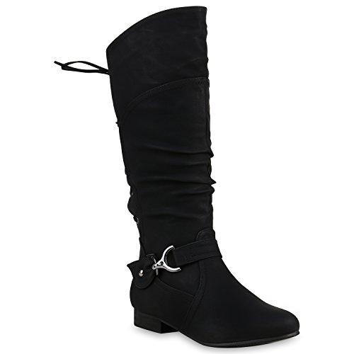 Klassische Stiefel Damen Nieten Schnallen Leder-Optik Schuhe 123397 Schwarz 36 Flandell