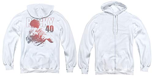Rocky Full Zip Hoodie 40 Years Strong White Hoody Back, MD