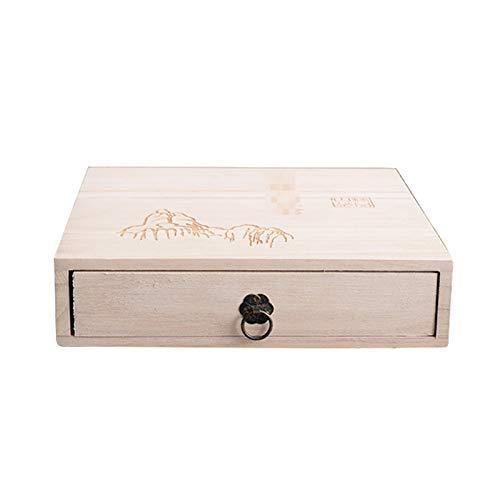 Yingm Bolsa de té de Madera Organizador Box Organizadores y cajón de Almacenamiento Organizador Caja de té Caja de Té Ligera (Color : Khaki, Size : 22x21.5x5.5cm)