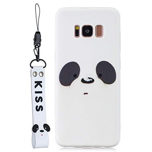 Yobby Silikon Hülle für Samsung Galaxy S8,Weich Gummi Weiß Panda Motiv Tiere Handyhülle mit Handschlaufe,Ultra Dünn Stoßfest Kratzfest TPU Schutzhülle für Samsung Galaxy S8