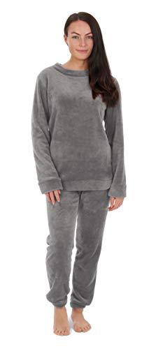 CityComfort Pyjamas für Frauen Mädchen Damen PJ\'s Bequemes Kuscheln Warmes Fleece Twosie Pyjama Set | Pyjama Flanell Shorts oder Bottoms Set Lounge Wear für Frauen (L, Grau)