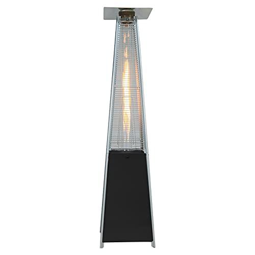 DKIEI Outdoor Pyramid Patio Heater 11KW Gas Garden Heater with Portable Wheels, Regulator & Hose Stainless Steel Pyramid Style, Black