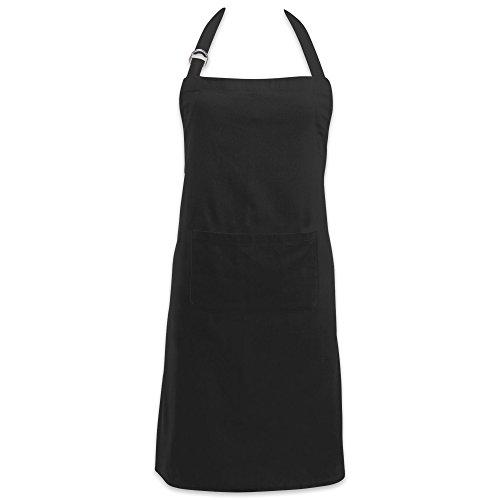 DII Delantal ajustable de cocina para chef, 100% algodón, apto para lavar en lavadora, con bolsillos, negro