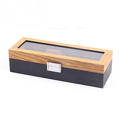 LOSKORIN Caja para 6 relojes, caja de madera con ventana de cristal, regalo para señora, caja para relojes