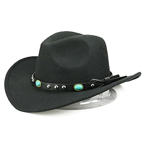 SJHFG Sombrero de vaquero de fieltro occidental con estilo arrugable, con ala moldeable, sombrero de vaquero de verano, invierno de fieltro para ropa al aire libre, estilo 3