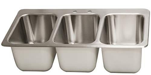 BK Resources DDI3-10141024 Three Compartment Drop-in Deck Mount Sink 10' x 14' x10' Bowl