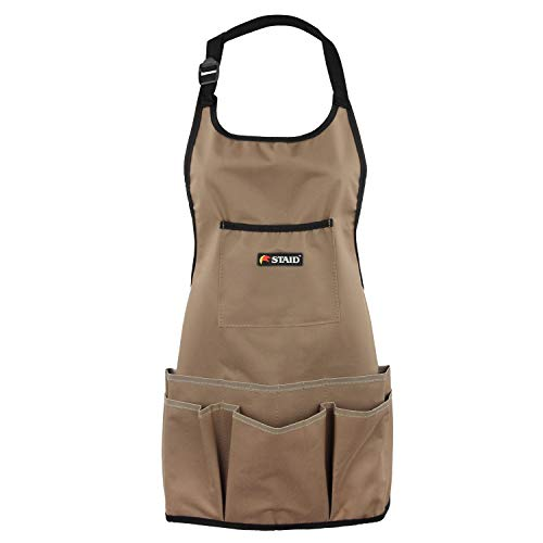 Garten Schürze mit 14 Taschen für Werkzeug wasserdicht verschleißfest Oxford Tuch Multifunktion Braun ca. 61 cm von Discoball®