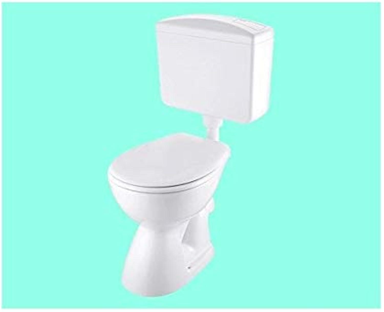 SET - Stand-WC Kunststoff-Spülkasten WC-Sitz Befestigung - ABGANG WAAGERECHT