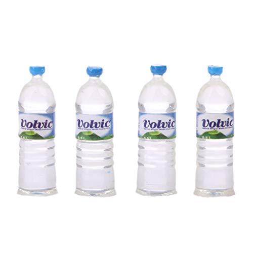 6Wcveuebuc Juego de 4 botellas de agua de juguete 1:12 para casa de muñecas en miniatura