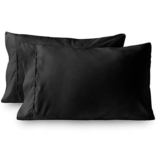 Bare Home Premium 1800 Ultra-Soft Microfiber Pillowcase Set - Double Brushed - Hypoallergenic - Wrinkle Resistant (King Pillowcase Set of 2, Black)