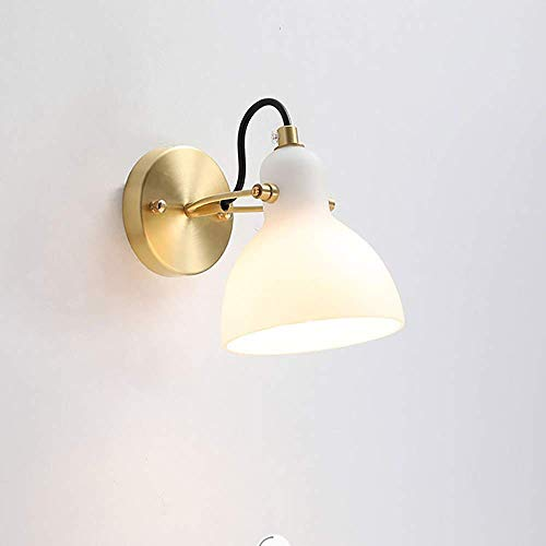 BANNAB LED Brass Wall Lantern Milkwhite Glass Lampshade Tricolor Dimming E14-Socket Antique Decoration Light Suitable for Bedroom Living Room Hallway Hotel Wall Lamp Oslash;13*H17cm