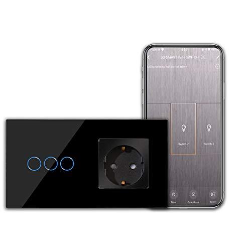CNBINGO Schuko Steckdose mit WLAN Lichtschalter - 3-Fach Smart Touchschalter Arbeit mit Alexa/Google Home, Smart Life App Fernbedienung - mit Glas Panel und Status-LED - Neutralleiter Wird Benötigt