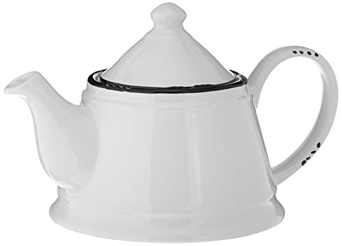 Vintage White Teapot with Black Line Embellishment