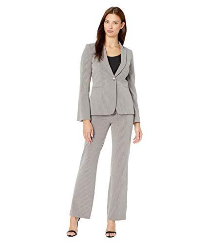 Tahari by ASL Bell Sleeve One-Button Jacket Pants Set Grey Pinstripe 10