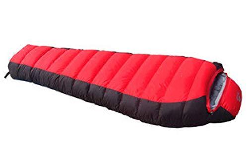 JINGYINYI Duurzame eend naar beneden ultra-licht en warm, winter outdoor slaapzak, kussen, 210 * 80 * 50cm@Roodachtig zwart