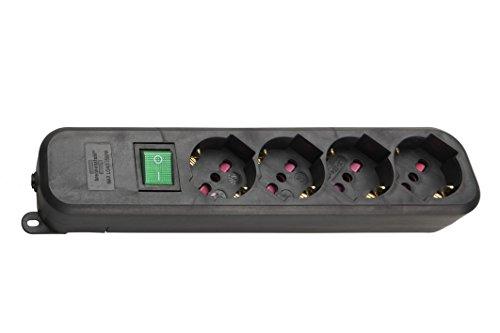 Brennenstuhl 1150739014 Multipresa Eco-Line con Interruttore di Sicurezza senza Cavo per Spine Elettriche, Nero